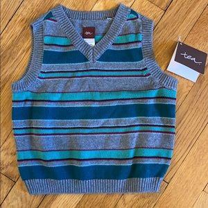 Tea collection sweater vest boys teal stripe